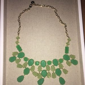 Green bead, gold plated chain statement necklace